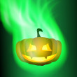 Burning pumpkin. Green fire. — Stock Vector #53483333