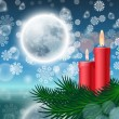 Christmas background with candles and fir tree — Vecteur #55296849