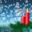 Christmas background with candles and fir tree — Vettoriale Stock  #55296871