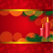 Christmas background with candles and fir tree — Stockvector