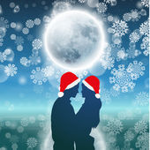 Couple over background with moon and snowflakes — Stock Vector