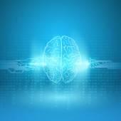Digital brain on blue background — Stock Vector