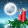 Christmas background with candles and fir tree — Vecteur #60476345