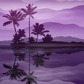 海とヤシの木と、紫色の背景 — ストックベクタ