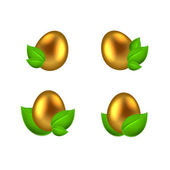 Set of golden eggs in green leaves — Stock vektor