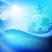 Vodní vlny a ostrov s palmami — Stock vektor
