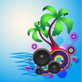 Tropické disko tanec pozadí s reproduktory — Stock vektor