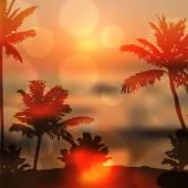 与岛和棕榈树海上日落 — 图库矢量图片