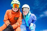 A couple on mountain vacation. Dolomiti Superski, Itlay — Stock Photo