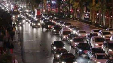 Las Vegas Strip Traffic Jam with Zoom — Stock Video