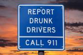 Report Drunk Drivers Sign with Sunset — Stock Photo