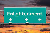 Freeway to Enlightenment Road Sign with Sunrise Sky  — Stock Photo