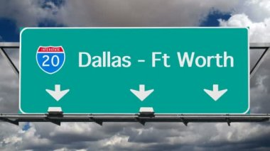 Dallas Interstate 20 Freeway Sign Time Lapse — Stock Video
