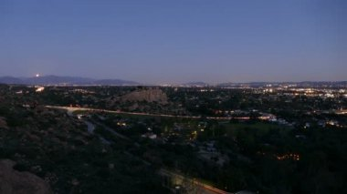 Los Angeles Valley Moonrise Time Lapse — Stock Video