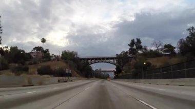 Pasadena 110 Freeway Rear View Los Angeles Driving Shot — Stock Video
