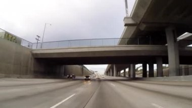 Los Angeles Harbor 110 Double Deck Freeway Rear View Driving Shot — Stock Video