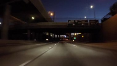 Los Angeles Harbor 110 Double Deck Freeway Night Driving — Stock Video