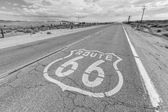 Old Route 66 Pavement Sign Black and White — Stock Photo