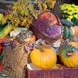 Outdoor decoration of ripe pumpkins. — Stock Photo #54475075