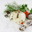 Christmas clock with winter decoration — Stock Photo #56799949