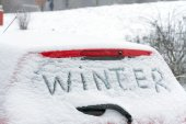 "The inscription ""Winter"" on a car windshield. — Stock Photo"