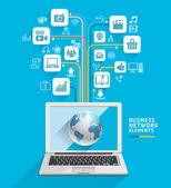 Business computer network. — Stock Vector