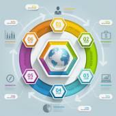3d hexagon arrow timeline infographics — Stock Vector