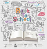Back to school idea doodles icons — Vettoriale Stock