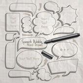 Speech bubble doodles hand drawn — Stock Vector