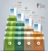 Business staircase doorway conceptual infographics — Stock Vector