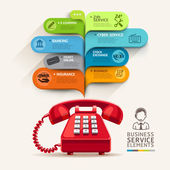 Business service icons and telephone with bubble speech template. can be used for workflow layout, diagram, number options, step up options, web design, banner template, infographics. — Stock Vector