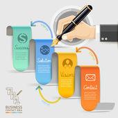商务营销联系人。商人用笔的手. — 图库矢量图片