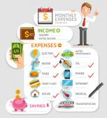 Monthly expenses template. — Stock Vector