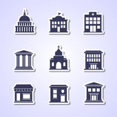 Government building paper cut icons — Stock Vector