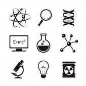 Chemistry and bio technology science icons set — Stock Vector