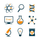 Chemistry and bio technology science icons — Stock Vector