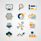 Data analytic icons paper cut set — Stock Vector