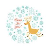 Christmas deer vector illustration — Stock Vector