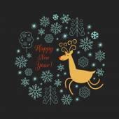 Weihnachten hirsch abbildung — Stockvektor