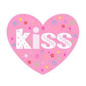 Kiss lettering decorative heart — Stock Vector