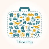 Travel holiday suitcase — Stock Vector