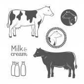 牛のエンブレム セット — ストックベクタ