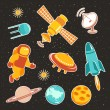 Постер, плакат: Space ship icons with planets rockets stars and astronaut