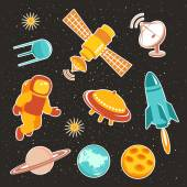 Space ship icons with planets rockets stars and astronaut — Stock Vector