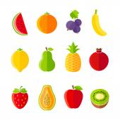 Organic fresh fruits and berries icon set flat design — Stock Vector