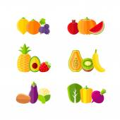 Healthy diet design elements with fruits and vegetables — Stockvector