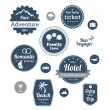 Typography design of travel and cruise tours labels and badges — Stock Vector #74478525