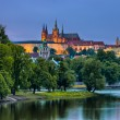 Hradcany and Vltava river in the night, Prague, Czech Republic — Stock Photo #52861003