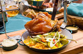 Pork knuckle with mustard and horseradish — Stock Photo