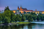 Hradcany and Vltava river in the night, Prague, Czech Republic — Stock Photo